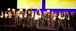 Les lauréats des Trophées ARSEG 2014 autour de Gilbert Blaise, Président de l'ARSEG et Président Fondateur de GHW