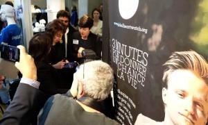 Madame la ministre Marisol Touraine sur le stand de Philips et de Global Heart Watch lors de la 1ere journée Innovation Santé au parc de La Villette le 23 janvier 2016. Ce salon de l'innovation médicale a rencontré un vif succès auprès des professionnels et du grand public.